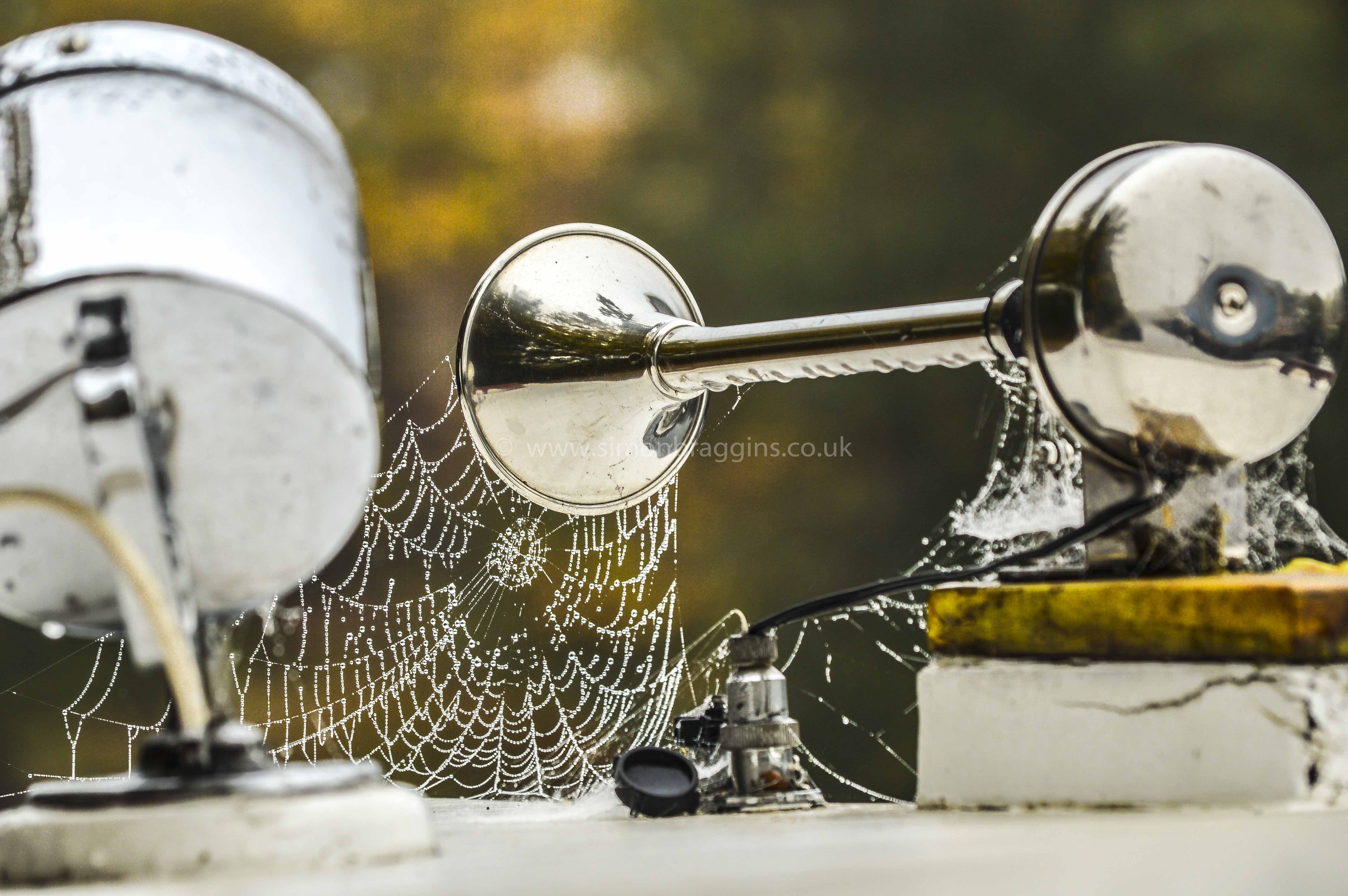 Dewy Web: A dewy spider web appears to flow out from a barge's horn - Tottenham Hale, October 2016